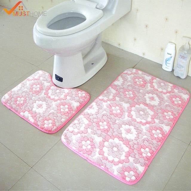 2 pz set di tappetini da bagno antiscivolo 45x50 cm e 50x80 cm/17.71x19.68in e 1