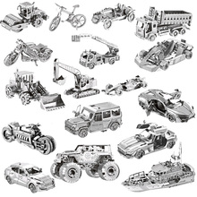 N 3D Metal Puzzle World Building Car Model Kid Assembly Jigsaw juguetes educativos adultos
