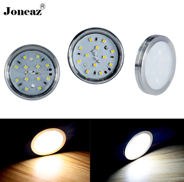Led under cabinet light for Wardrobe closet kitchen round lamp DC12V 2 meter cable  energy saving smart for project Joneaz