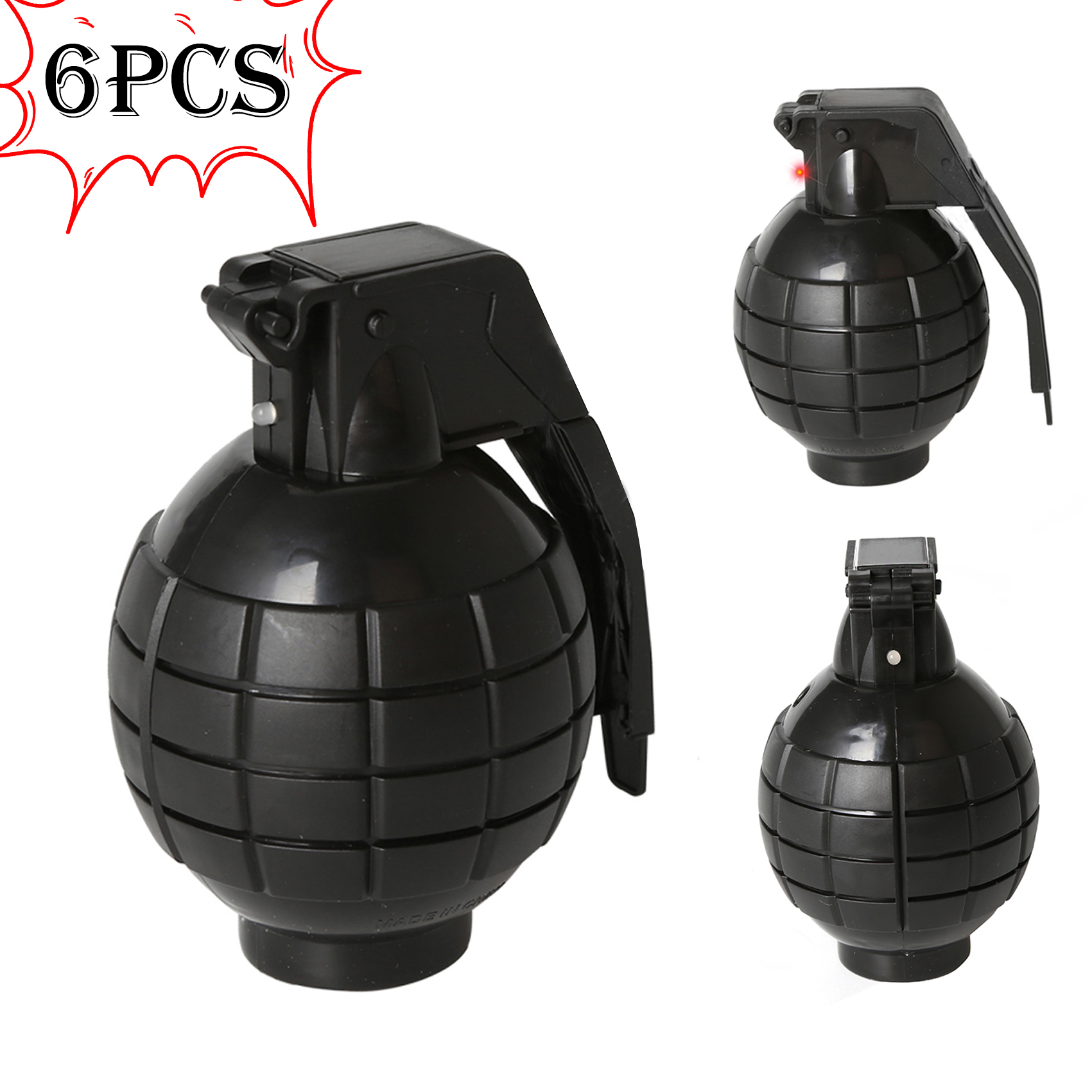 6PCS Toy Hand Grenades Pretend Toys Action Commando Series Musical Toys Occupations Toy With Lights And Sounds For Kid