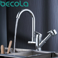Becola New Design Pull Out Kitchen Faucet Deck Mounted Sink Faucet 360 Swivel Chrome Brass Mixer