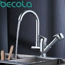 Becola новый дизайн вытащить кухонный кран на бортике раковины кран 360 поворотный хром латунь смесителя B-8207