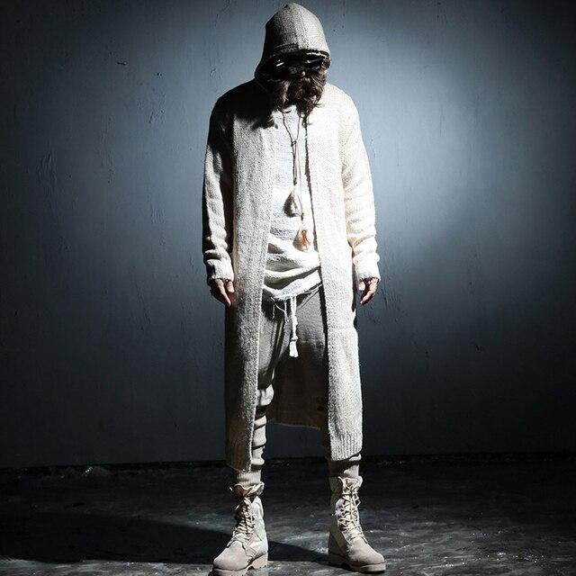 Новый Экстра длинный кардиган свитера мужчины Черный Бежевый цвет Свободная посадка Панк-рок одежда
