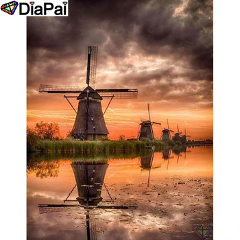 DIAPAI Diamond Painting 5D DIY 100% Full Square/Round Drill Windmill landscape Embroidery Cross Stitch 3D Decor A24679