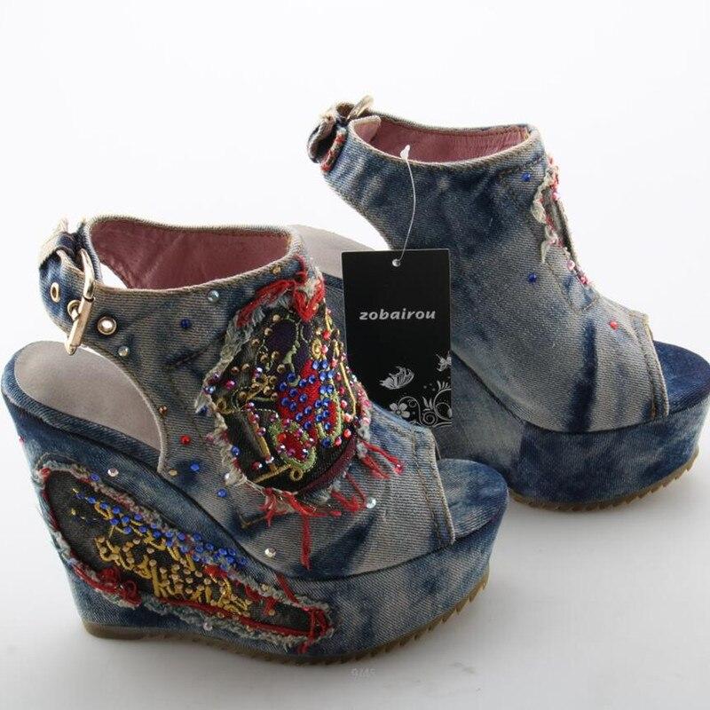 Desinger sapatos de verão salto alto mules aberto dedo do pé denim azul jeans sandálias marca luxo mulher cunhas peep toe cowboy tornozelo botas - 6