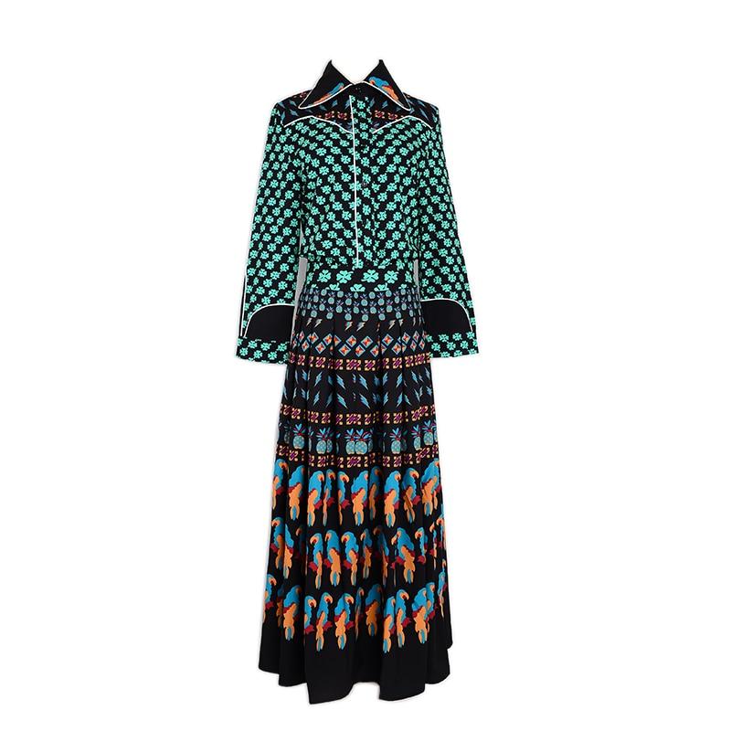 2017 Top Fashion Runway Bohemian Outfit font b Blouse b font Pleated Skirt font b Women