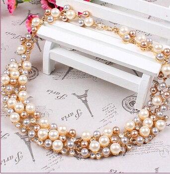 Fashion Pearl Gold Crystal Jewelry Set 5