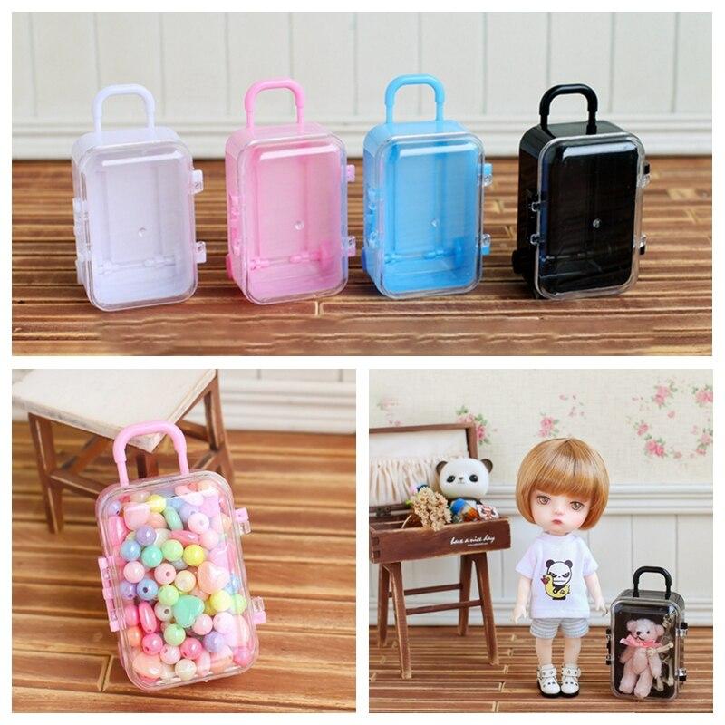 1PCS Blyth 1/6 Dolls 7.5cm Mini Traveling Case 4 Colors Plastic Suitcase For 1/8 1/12 BJD OB11 20CM Doll Props Dolls Accessories