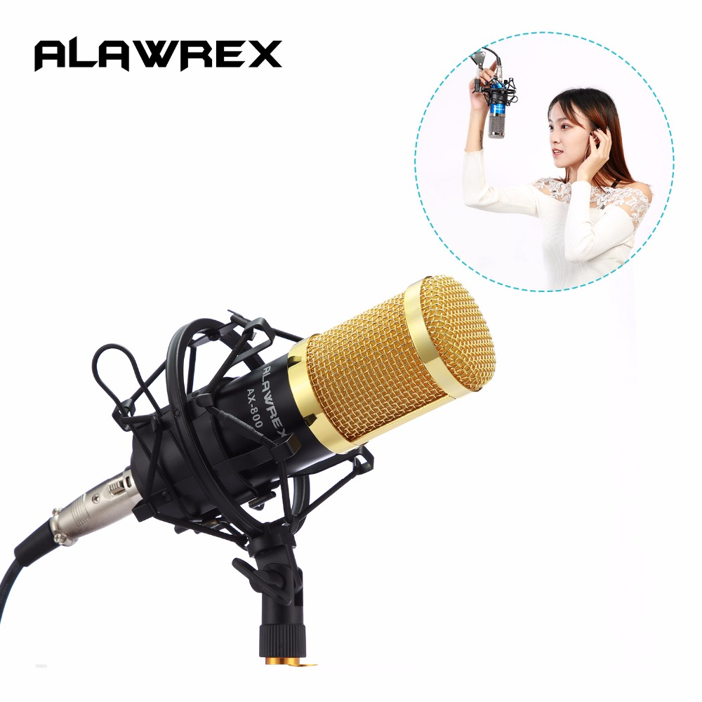 ALAWREX Professional Condenser KTV Microphone Cardioid Pro Audio Studio Vocal Recording Mic Karaoke + Metal Shock Mount 3 5mm jack audio condenser microphone mic studio sound recording wired microfone with stand for radio braodcasting singing