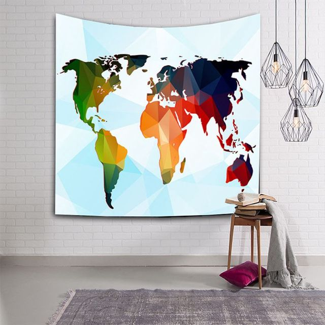 Colorful world map tapestry vintage hanging decoration for home colorful world map tapestry vintage hanging decoration for home office printed polyester fabric wall carpet textile gumiabroncs Choice Image