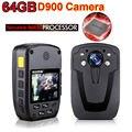 Frete Grátis! 64 GB D900 Top NTK96650 Chip Full HD 1080 P de Segurança Pessoal Do Corpo Usado & Câmera Polícia Câmera de Visão noturna