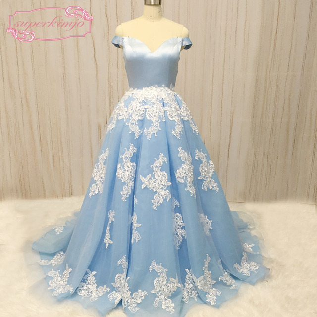 SuperKimJo blue prom dresses off the shoulder lace appliques ball gown  puffy organza light sky blue long evening dresses 2018 16e49f43b87f