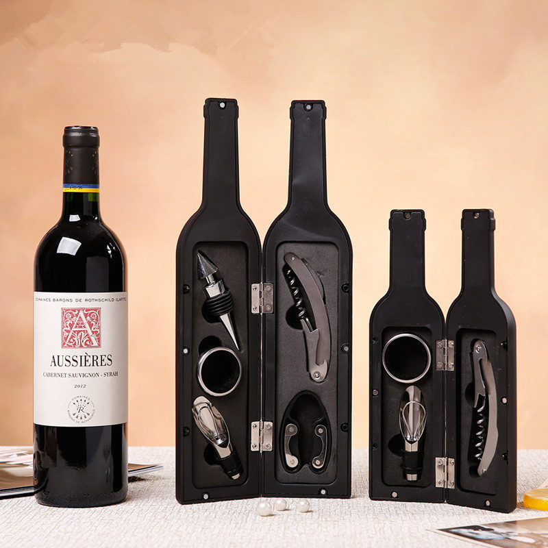 5Pcs Wine Bottle Corkscrew & Accessory Set Wine Tool Set Bottle-Shaped Holder Perfect Hostess Gift Bottle Opener