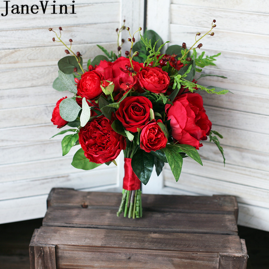 JaneVini 2018 Graceful Red Peony Rose Bridal Bouquets for Wedding Artificial Silk Holding Wedding Flowers Bouquet