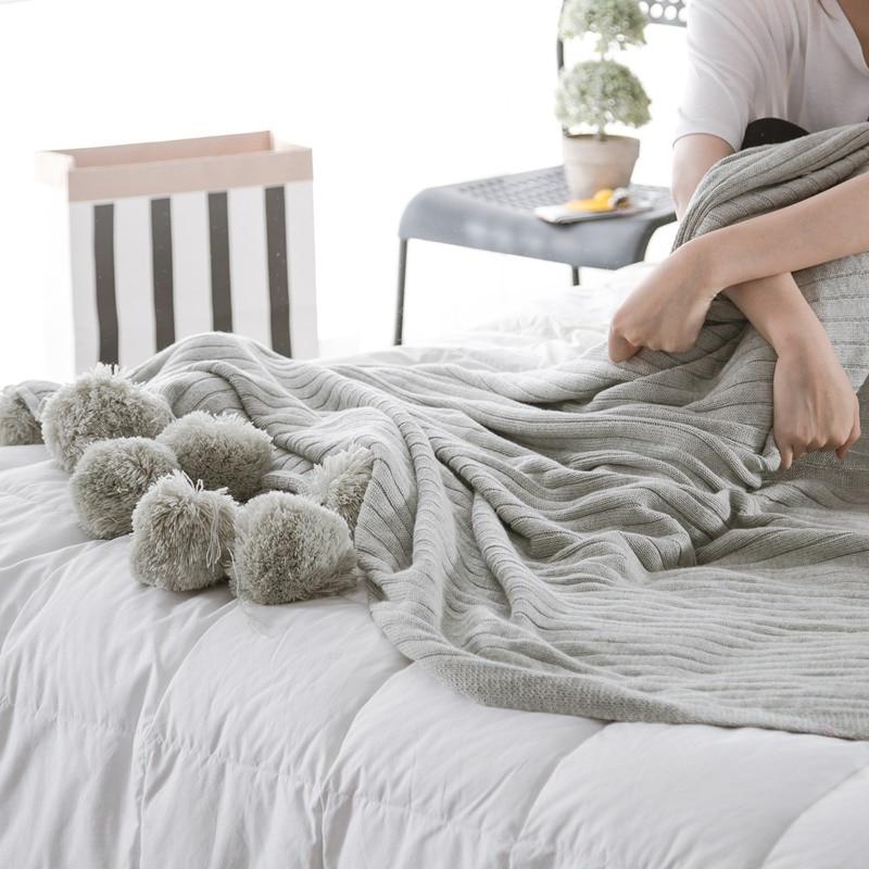 100% coton gris plage, tricot, tricoté balle, pique-nique de Couchage Super Doux Lit couverture enfant plage couverture 150x200 cm taille