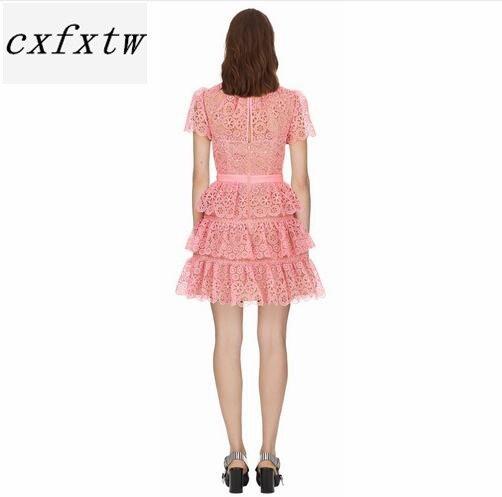 Robe à manches courtes 2018 été col rond jolie robe en dentelle rose de haute qualité - 3
