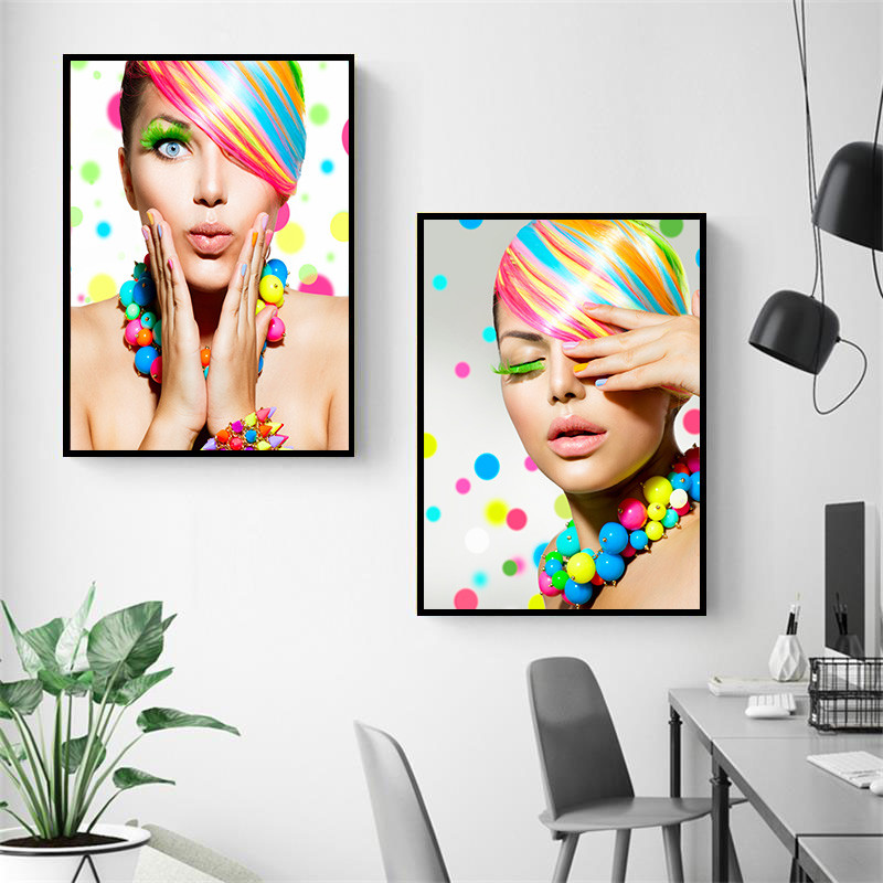 Modern Fashion Beauty Art Canvas Painting Poster Or Print Colourful Hair Makeup Wall Pictures For Salon Beauty Shop Decor DH2707
