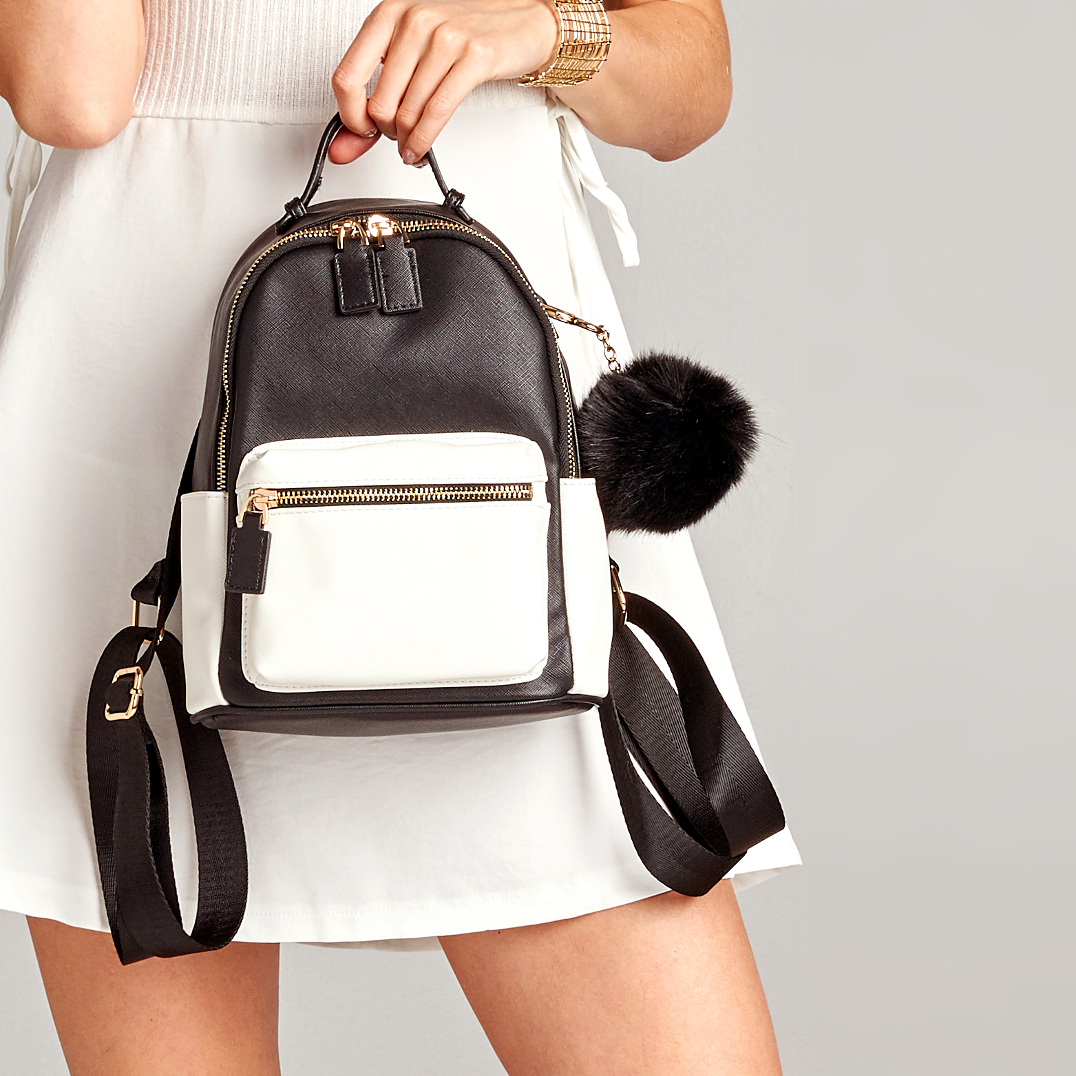 Pom-Pom Faux Leather Mini Backpack pom pom drop earrings