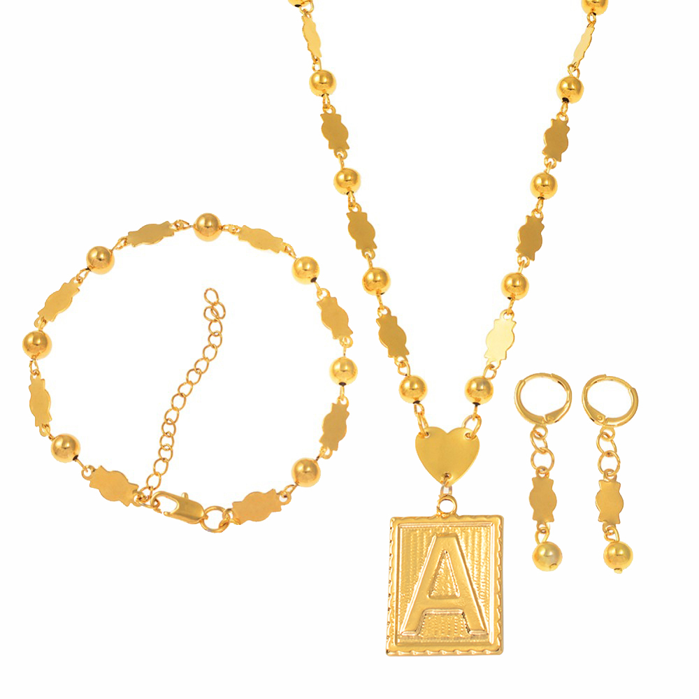 A-Z CAN CHOOSE / Rectangle Letters Pendant Bead Necklaces Gold Color Marshall Initial Alphabet Ball Chain Micronesia Jewelry