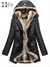 HEE GRAND Women Basic Jackets Winter Coats Faux Fur Woman Warm Parka Hood Coat Plus Size