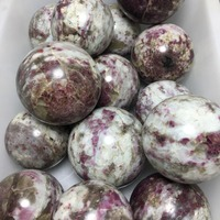 2kg NATURAL PINK Red Tourmaline Crystal SPHERE BALL QUARTZ HEALING GEM 7 10pcs