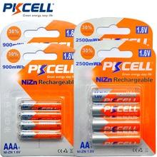 Pkcell 8個1.6v 2500mWh単三充電式電池 + 8個900mwh aaa充電式バッテリー