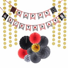 Sunbeauty 10Pieces/set Happy Birthday Party Decorations For Adult Kids Paper Fans banner