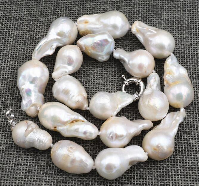New 14x18mm Natural Baroque White Pearl Necklace 18 36New 14x18mm Natural Baroque White Pearl Necklace 18 36