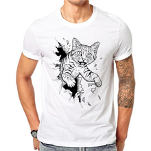100% Cotton Summer Fashion T Shirt Tee 3D Frightened Cat Pri