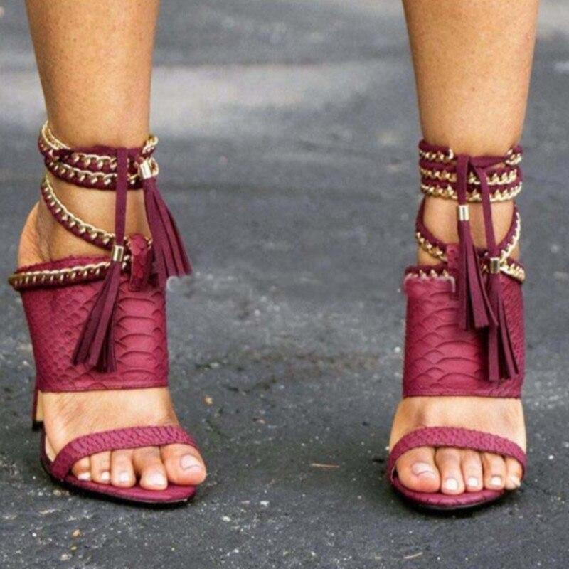 Chaussures Roi Up Emma Solid Creux Stilettos Sandales Dames Mince Femmes Lace Talons Mujer Sandalias Fringe Partie Solide De Mode Haute Sexy pw7CxH7q