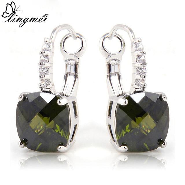 Lingmei Fashion Jewelry Posh Olive Green Peridot White Cz Dangle Hook Silver Color Earrings Whole
