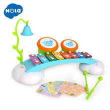 HOLA 909 Baby Toys Colorful Rainbow Hand Knock Piano 8-Note Early Learning Development Musical Toys for Children Girl Gift(China)