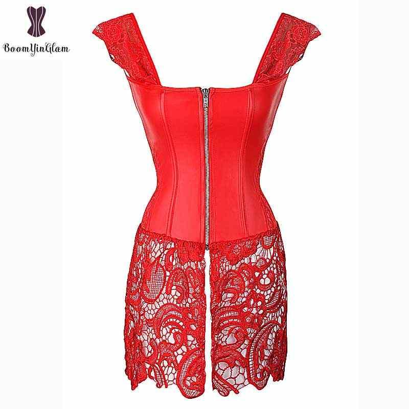 Корсет в стиле стимпанк платье искусственный синтетические кожаные корсеты эластичные костей Плюс Размеры 6XL платье-бюстье, замок-молния, тонкая талия корсеты