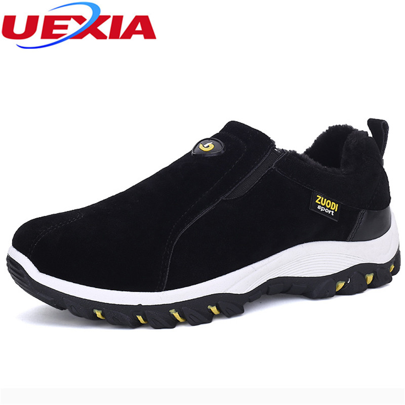 UEXIA Outdoor Sport Warm Winter Men Casual Shoes With Fur Snow Shoes Suede Zapatos Hombre Work Casual Quality Footwear Walking plush casual suede shoes boots mens flat with winter comfortable warm men travel shoes patchwork male zapatos hombre sg083