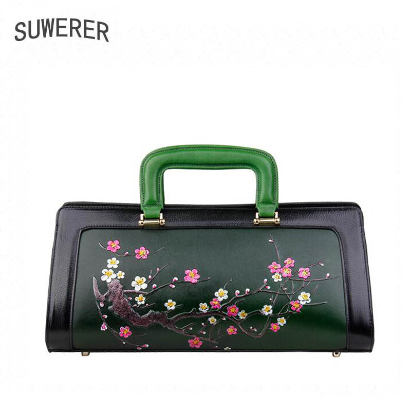 2018 New women Genuine Leather bags Fashion embossed Color Flowers handbags women bags designer women leather handbags tote bag new women leather bags fashion embroider flowers luxury tote handbags designer women bag leather handbags crossbody bags