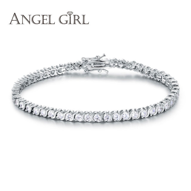 Angel Girl AAA+ Round Cubic Zirconia Tennis Bracelet for woman bracelets&bangles  for women plated bracelet manchette femme 2