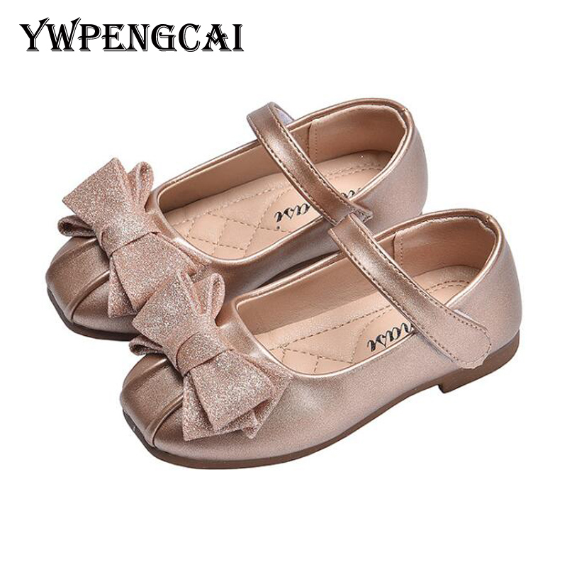 Spring Autumn Party Wedding Children Flats Gold Silver Girls Shoes Flowers Bowtie Princess Shoes Soft Sole Toddler Girl Shoes