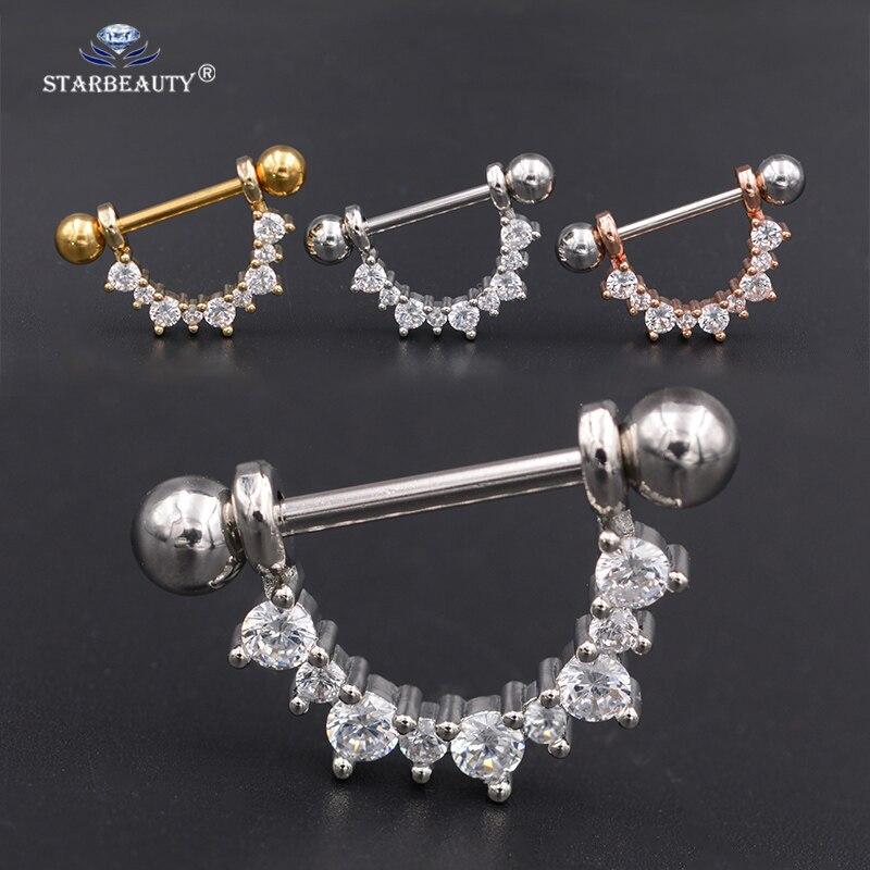 Starbeauty 1 par de prata rosa cor de ouro u forma nipple piercing escudo barras piercing aço bocal piercing para mulher homem