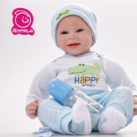 New Arrival Adorable Cloth Body Baby Reborn Doll 22 Sweet Grin Baby Doll Wholesale Reborn Baby Kit Kids Graduation Gift