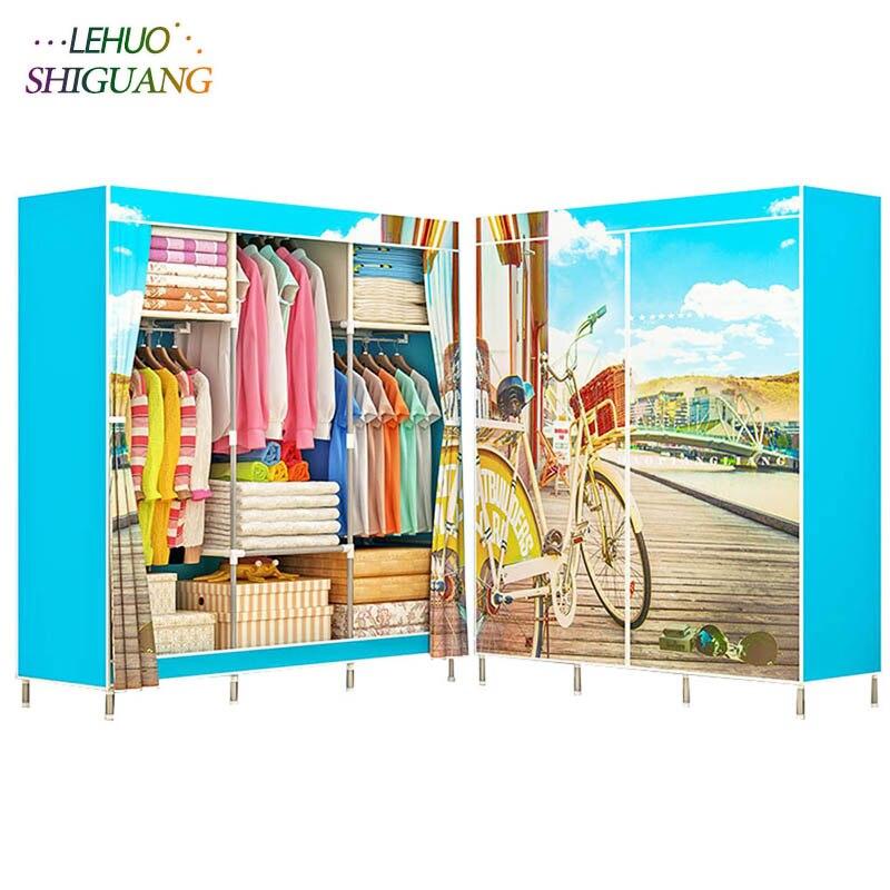 Пейзаж печать шкаф молния нетканый материал стальная рама армирование стоя хранения Организатор Съемная мебель