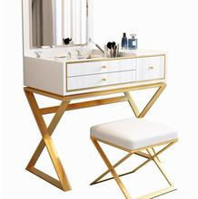Modern Nordic net red dressing table light luxury ins wind multi-function bedroom flip dressing table paint mirror makeup table modern dressing table luxury princess ins wind bedroom dressing table black stainless steel cosmetic table