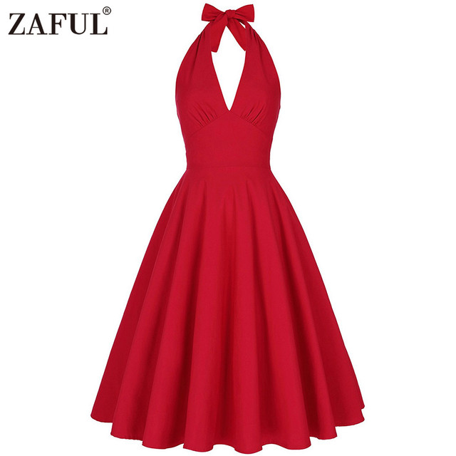 ZAFUL Плюс размер Летние Женщины старинные Dress red solid холтер hepbum 50 s халат Рокабилли Ретро Party Dress Feminino Vestidos