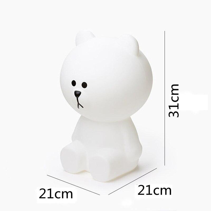 Nova Luz CONDUZIDA Da Noite Coelho Cabeça do Urso de Brown DA UE/EUA Plug Animal Dos Desenhos Animados Da Lâmpada Decorativa Para Crianças Quarto Crianças presentes - 3