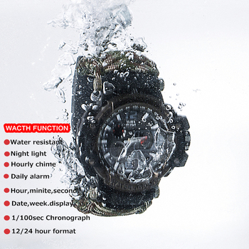 EDC Survival Watch Bracelet Waterproof 50M Watches For Men Women Camping Hiking Military Tactical Gear Outdoor Camping tools 5