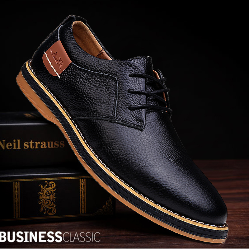 2019 New Men Oxford Genuine Leather Dress Shoes Brogue Lace Up Flats Male Casual Shoes Footwear Loafers Men Big Size 39-48