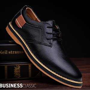 Image 1 - 2019 New Men Oxford Genuine Leather Dress Shoes Brogue Lace Up Flats Male Casual Shoes Footwear Loafers Men Big Size 39 48