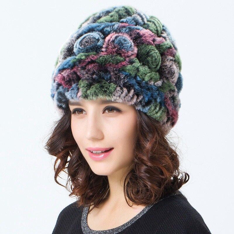 Women 39 s Real Knitted Rex Rabbit Fur Hats Female Winter Caps Fashion Ear Protector Genuine Fur Headgear VK3024 in Women 39 s Skullies amp Beanies from Apparel Accessories
