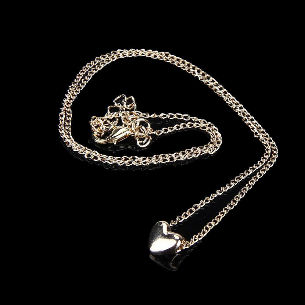 Moda serce naszyjnik dla kobiet biżuteria wisiorek Choker Chunky komunikat Bib łańcuch złoty naszyjnik