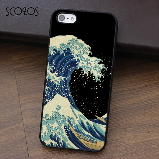 detailed look 7f064 6b98b US $4.99 |SCOZOS Kanagawa Wave phone case for iphone X 4 4s 5 5s Se 5C 6 6s  7 8 6&6s plus 7 plus 8 plus #ea206-in Fitted Cases from Cellphones & ...