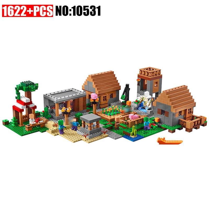 Bela 1622pcs 10531 Model building kits compatible 21228 my worlds MineCraft Village blocks Educational toys hobbies